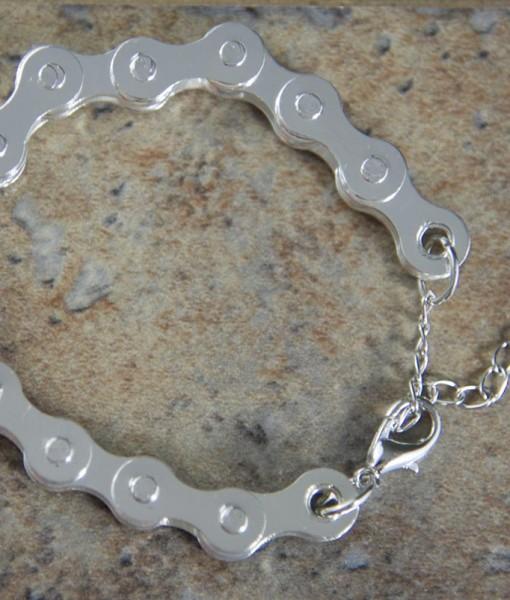 Silver-steel-Bike-chain-bracelet