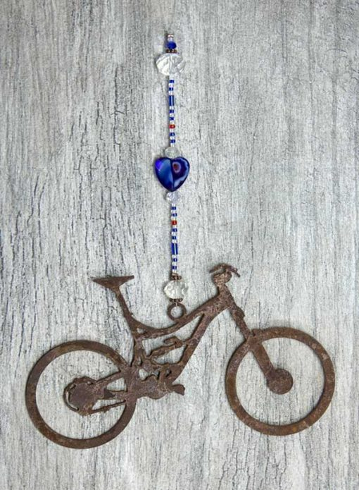 Mountain Bike Sun Catcher Cobalt Heart