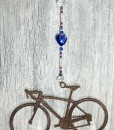 road bike sun catcher with cobalt heart