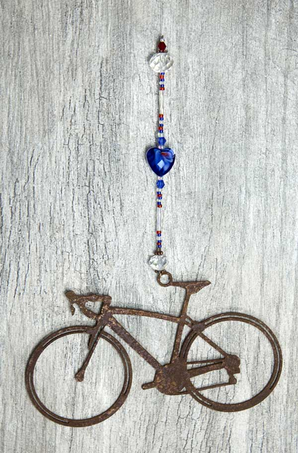 road bike sun catcher with cobalt heart