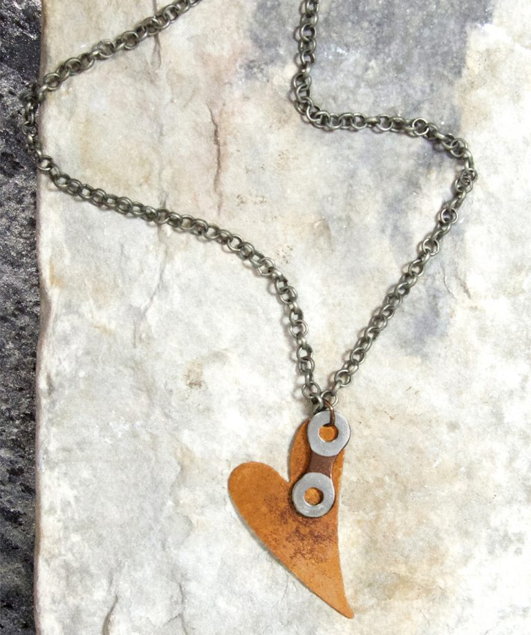 NCH 01 Antiqued Copper Heart Chain Link gun metal Chain Necklace 20