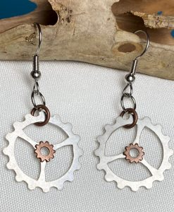 Fixie Bike Gear Earrings